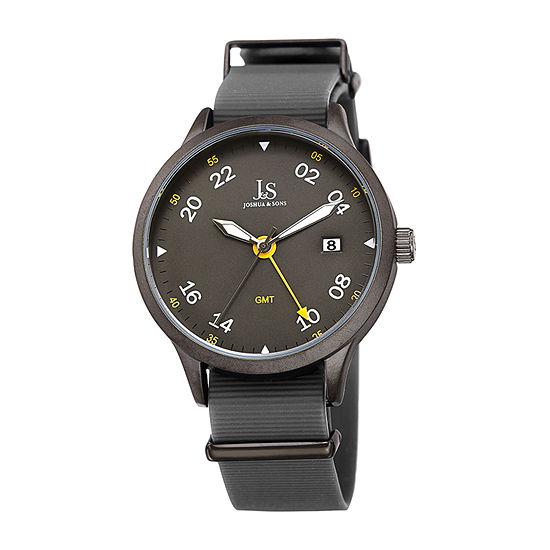 Joshua & Sons Mens Gray Strap Watch-J-147gn