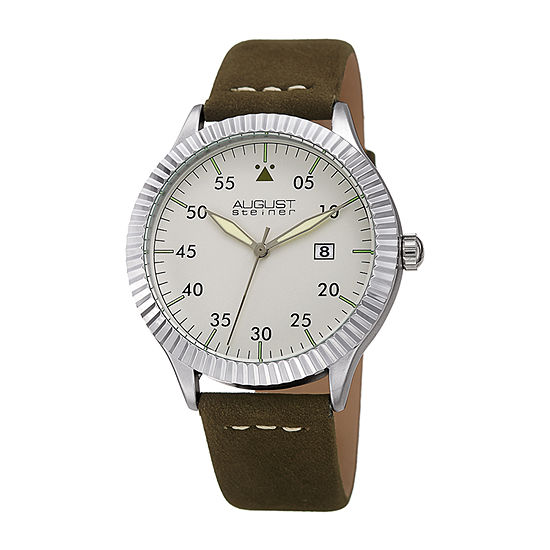 August Steiner Mens Green Leather Strap Watch-As-8272gn