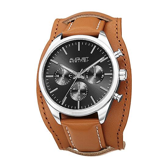 August Steiner Mens Multi-Function Brown Leather Strap Watch-As-8270gnbr