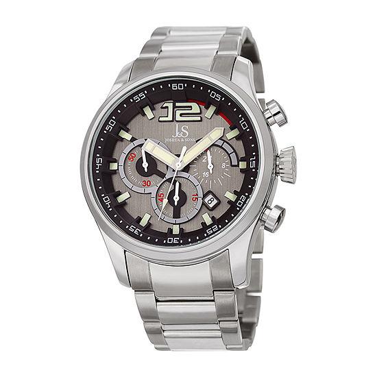 Joshua & Sons Mens Chronograph Multi-Function Silver Tone Stainless Steel Bracelet Watch-J-134ssbk
