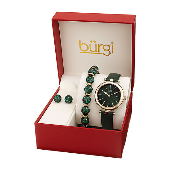 Burgi Womens Green Leather Watch Boxed Set-B-241gn-S
