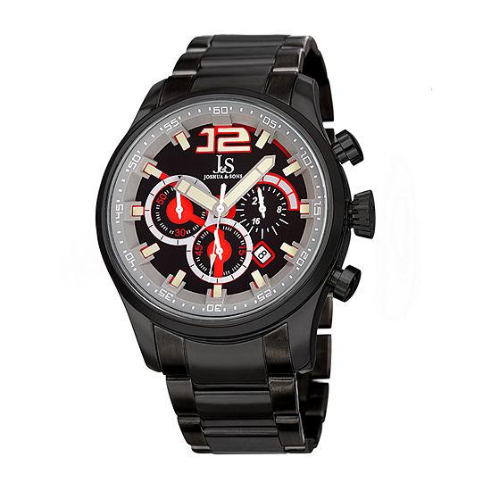 Joshua & Sons Mens Chronograph Multi-Function Black Stainless Steel Bracelet Watch-J-134bk