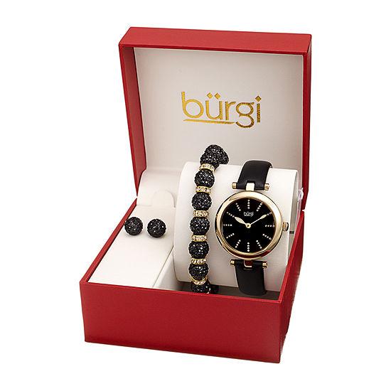 Burgi Womens Black 3-pc. Watch Boxed Set-B-241ygb-S