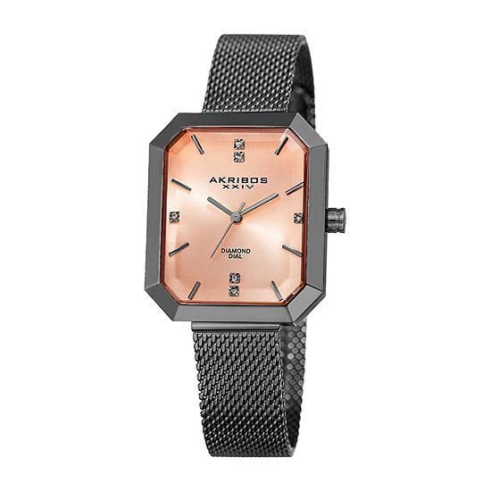 Akribos XXIV Womens Diamond Accent Gray Stainless Steel Bracelet Watch-A-909gn