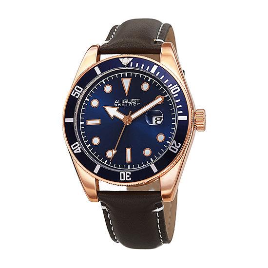 August Steiner Mens Brown Strap Watch-As-8269rg