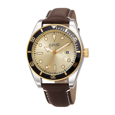 August Steiner Mens Brown Strap Watch-As-8269br