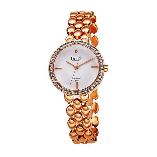 Burgi Womens Diamond Accent Crystal Accent Rose Goldtone Bracelet Watch-B-242rg
