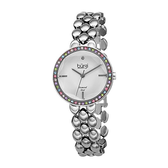 Burgi Womens Diamond Accent Crystal Accent Silver Tone Bracelet Watch-B-242ss