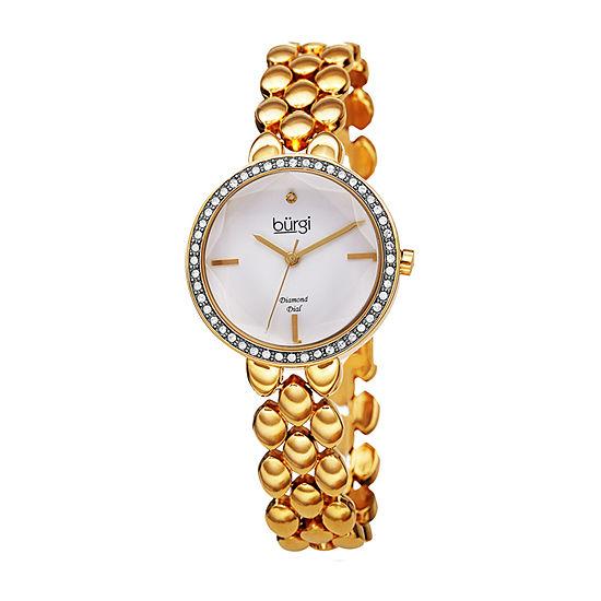 Burgi Womens Gold Tone Bracelet Watch B 242yg
