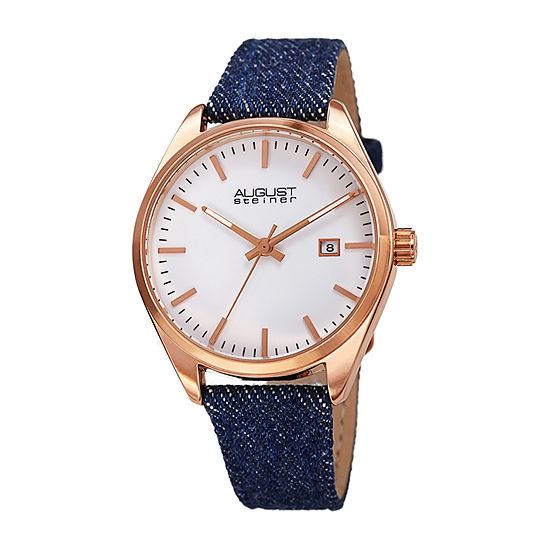 August Steiner Womens Blue Leather Strap Watch-As-8266rg