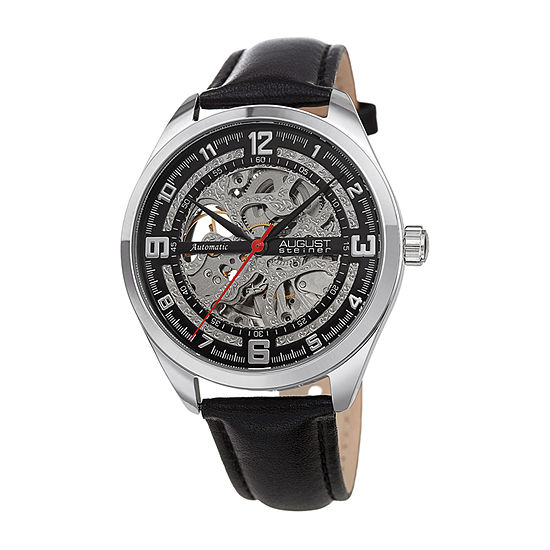 August Steiner Mens Automatic Black Leather Strap Watch-As-8264ssbk