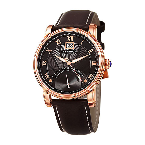 Akribos XXIV Mens Brown Strap Watch-A-913rg