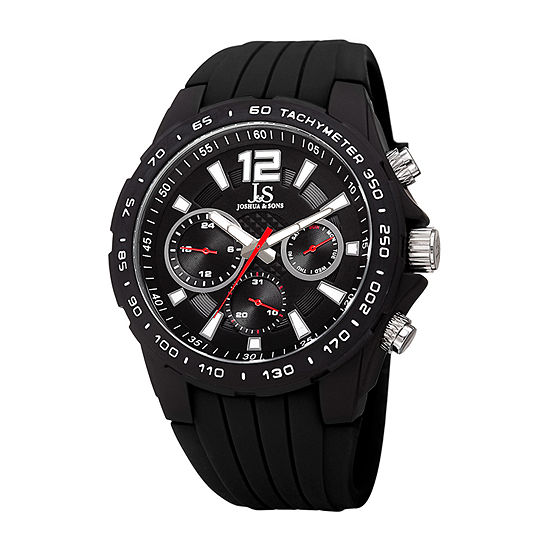 Joshua & Sons Mens Multi-Function Black Strap Watch-J-126bk