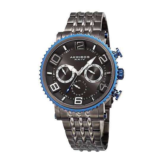 Akribos XXIV Mens Gray Stainless Steel Bracelet Watch-A-917gn