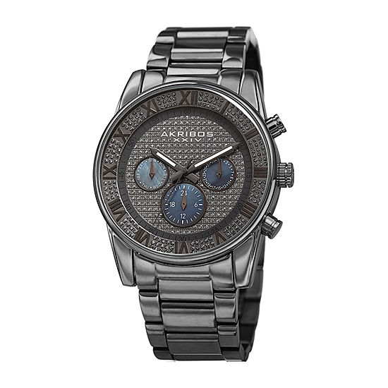 Akribos XXIV Mens Multi-Function Crystal Accent Gray Stainless Steel Bracelet Watch-A-939gn