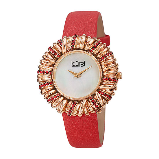 Burgi Womens Crystal Accent Red Leather Strap Watch-B-255rd