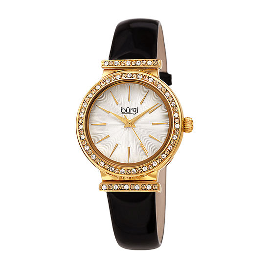 Burgi Womens Crystal Accent Black Leather Strap Watch-B-243bk
