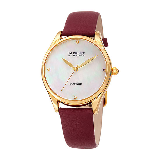 August Steiner Womens Diamond Accent Red Leather Strap Watch-As-8254rd