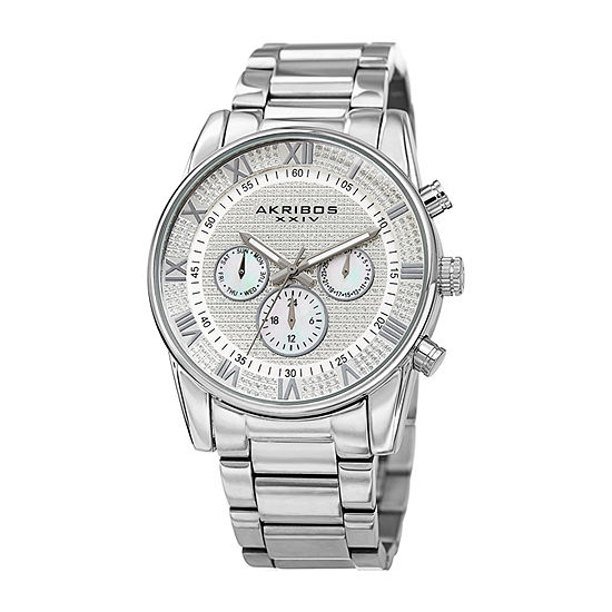 Akribos XXIV Mens Multi-Function Crystal Accent Silver Tone Stainless Steel Bracelet Watch-A-939ss