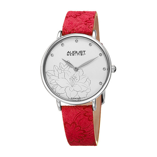 August Steiner Womens Red Strap Watch-As-8242rd
