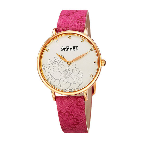 August Steiner Womens Diamond Accent Pink Leather Strap Watch-As-8242pk