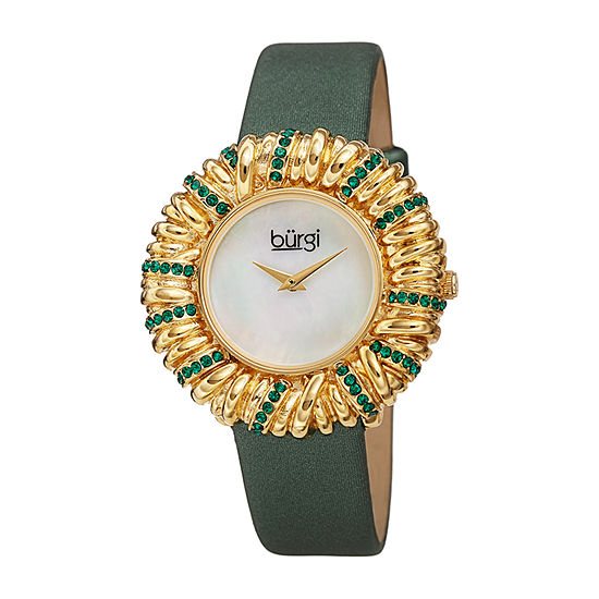 Burgi Womens Crystal Accent Green Leather Strap Watch-B-255gn
