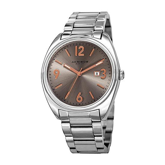 Akribos Xxiv Mens Silver Tone Bracelet Watch A 957ss