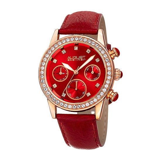 August Steiner Womens Red Strap Watch As 8236rd