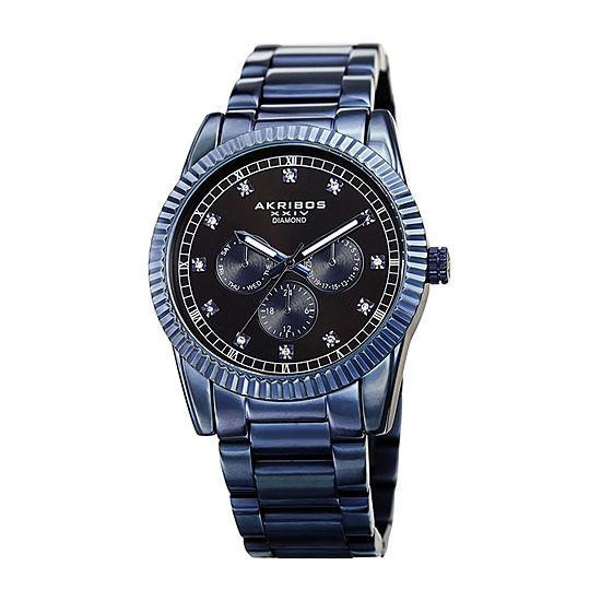 Akribos XXIV Mens Multi-Function Diamond Accent Blue Stainless Steel Bracelet Watch-A-958bu
