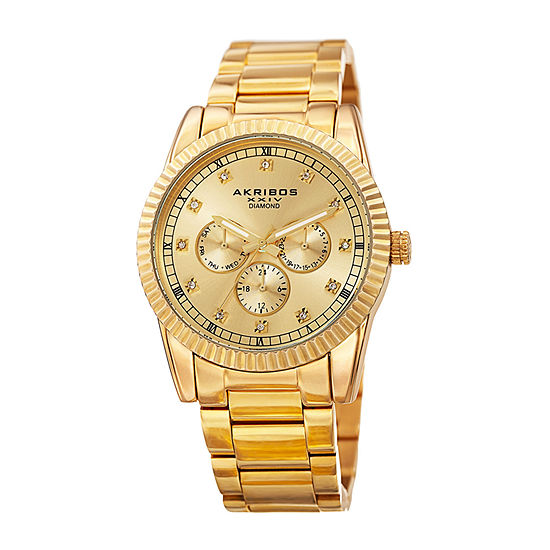 Akribos XXIV Mens Multi-Function Diamond Accent Gold Tone Stainless Steel Bracelet Watch-A-958yg