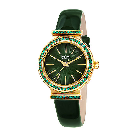 Burgi Womens Crystal Accent Green Leather Strap Watch-B-243gn