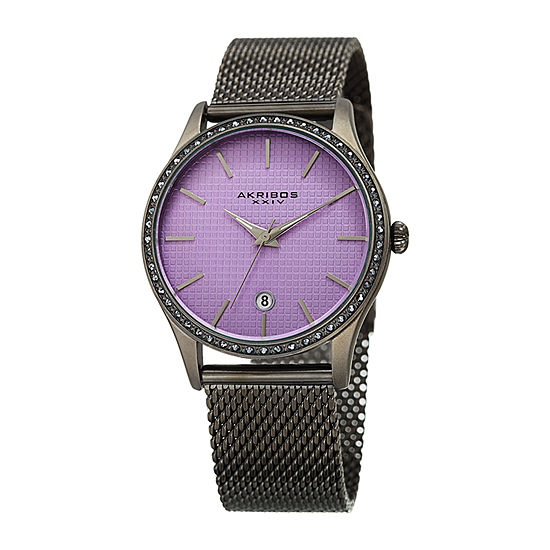 Akribos XXIV Womens Crystal Accent Gray Stainless Steel Bracelet Watch-A-967gnpu
