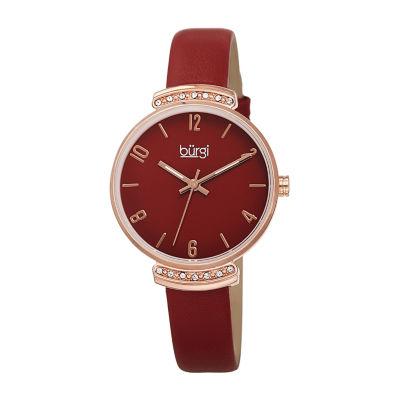Burgi Womens Red Strap Watch-B-254rd