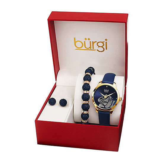 Burgi Womens Diamond Accent Crystal Accent Blue Leather 3-pc. Watch Boxed Set-B-244bu-S