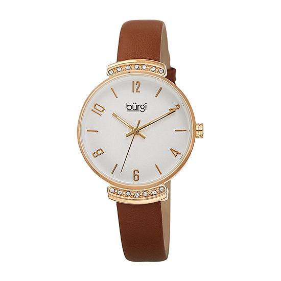 Burgi Womens Brown Strap Watch-B-254br