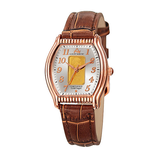 August Steiner Womens Brown Leather Strap Watch-As-8225rgbr