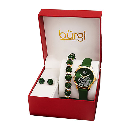 Burgi Womens Green 3-pc. Watch Boxed Set-B-244gn-S