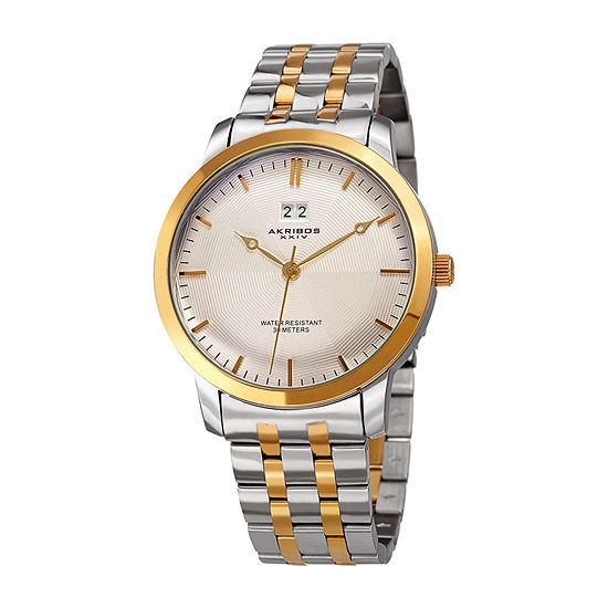 Akribos XXIV Mens Two Tone Stainless Steel Bracelet Watch-A-997ttg