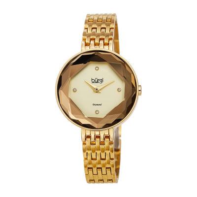 Burgi Womens Gold Tone Bracelet Watch-B-253yg