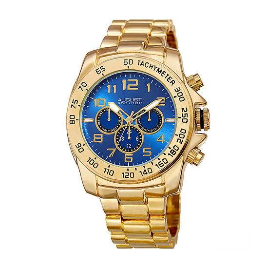 August Steiner Mens Multi-Function Gold Tone Bracelet Watch-As-8095ygbu