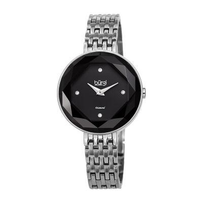 Burgi Womens Silver Tone Bracelet Watch-B-253ssbk