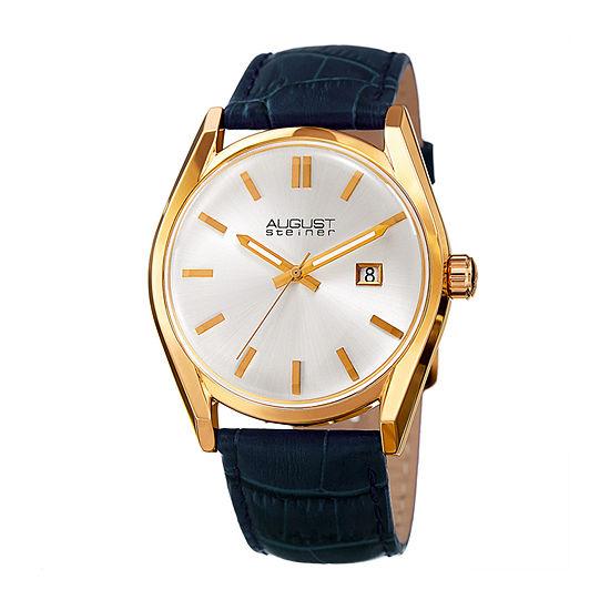 August Steiner Womens Blue Leather Strap Watch-As-8221bu