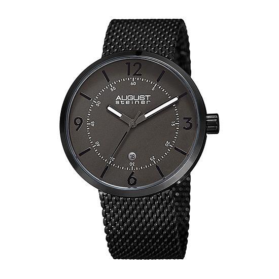 August Steiner Mens Black Stainless Steel Bracelet Watch-As-8204bk