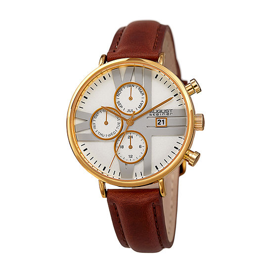 August Steiner Womens Multi-Function Brown Leather Strap Watch-As-8220bryg