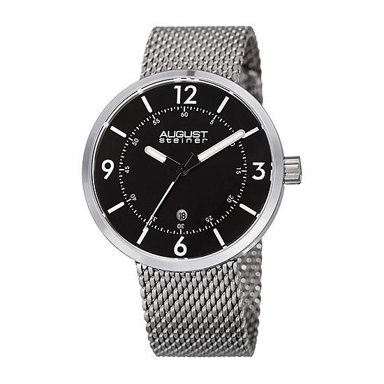 August Steiner Mens Silver Tone Stainless Steel Bracelet Watch-As-8204ssb