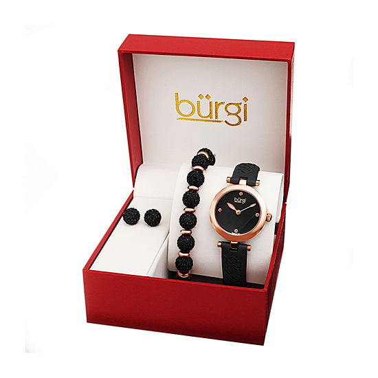 Burgi Womens Diamond Accent Crystal Accent Black Leather Watch Boxed Set-B-245bkr-S