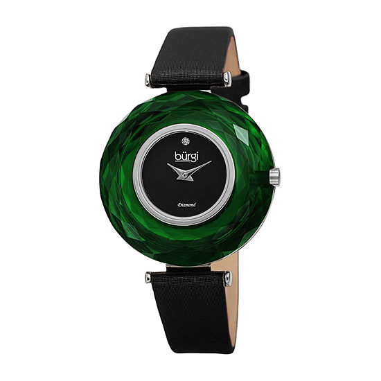 Burgi Womens Black Strap Watch-B-252gn