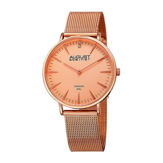 August Steiner Womens Diamond Accent Rose Goldtone Stainless Steel Bracelet Watch-As-8207rg