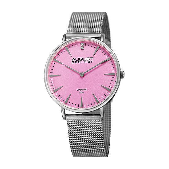 August Steiner Womens Silver Tone Bracelet Watch-As-8207ss