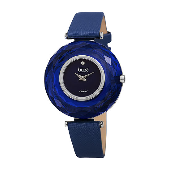 Burgi Womens Diamond Accent Blue Leather Strap Watch-B-252bu